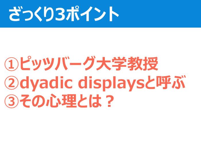 ①ピッツバーグ大学教授 ②dyadic displaysと呼ぶ ③その心理とは?