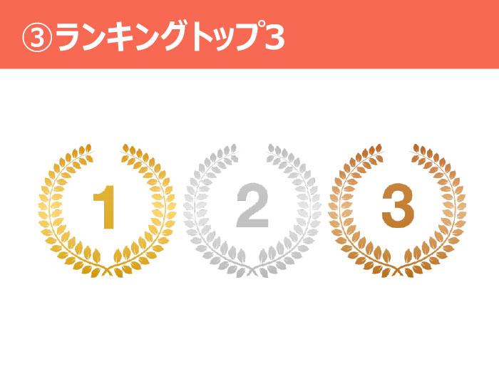 ③ランキングトップ3