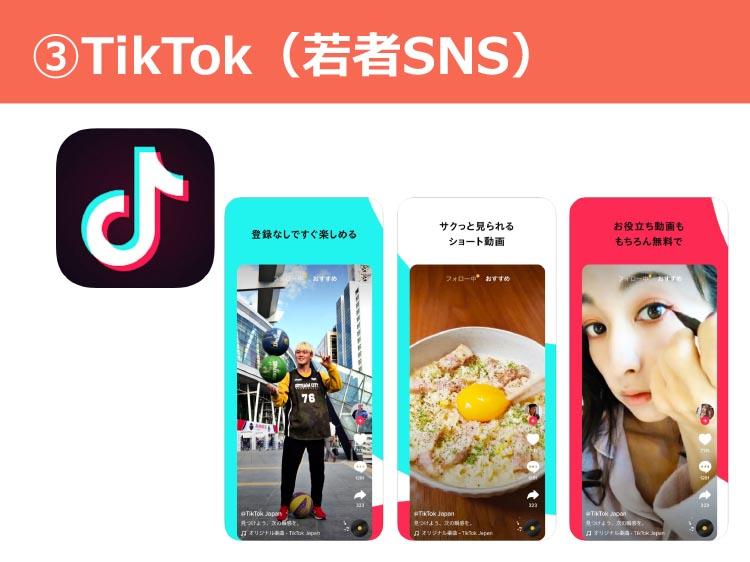 ③TikTok(若者SNS)
