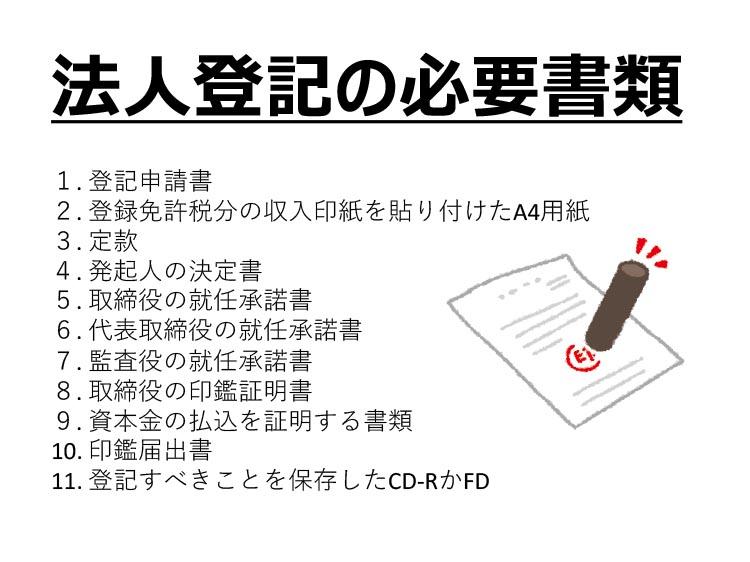 法人登記の必要書類